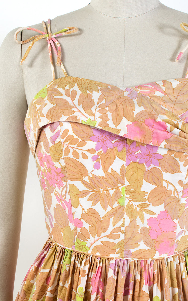 1950s Floral Tie Straps Cotton Sundress | small