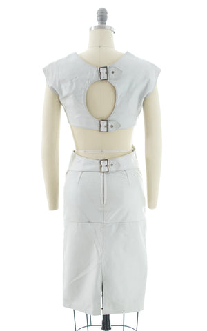 1980s Buckled Open Back Leather Wiggle Dress