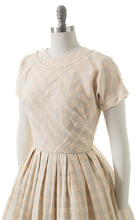 1950s Cream Plaid Day Dress