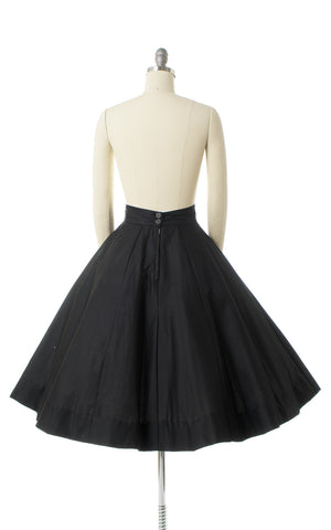 1950s Black Cotton Wide Waistband Skirt