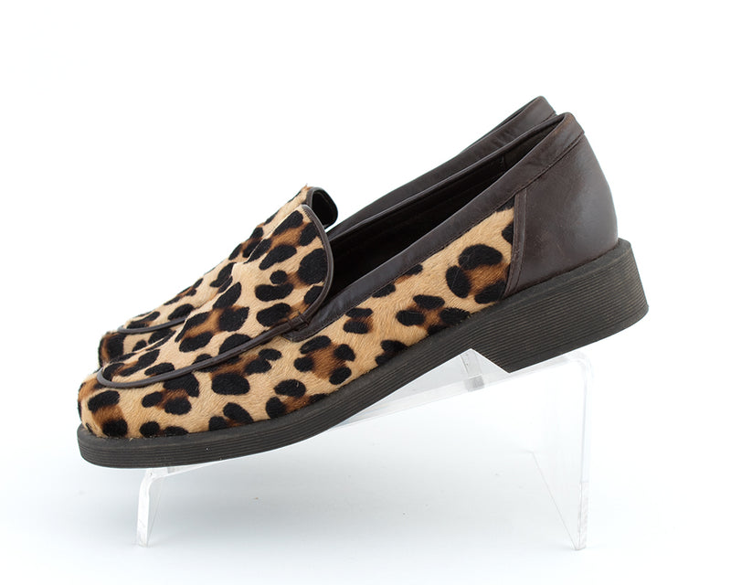 1990s Leopard Print Pony Hair & Leather Loafers