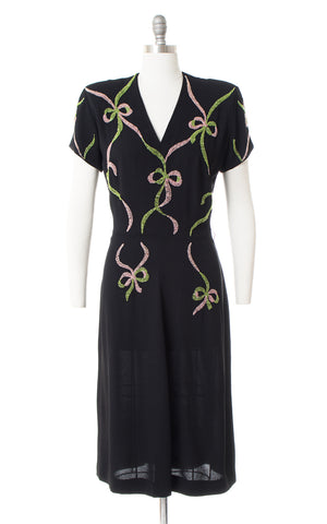 1940s Beaded Bows Rayon Crepe Dress