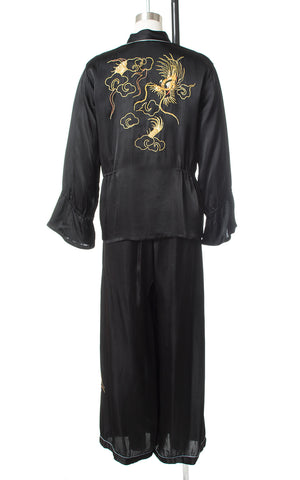 1940s Dragon Embroidered Satin Loungewear Set