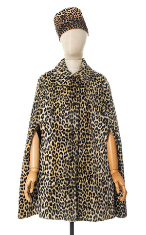 SOLD || 1960s Leopard Print Faux Fur Coat | x-small/small/medium