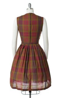 1950s Plaid Belted Day Dress