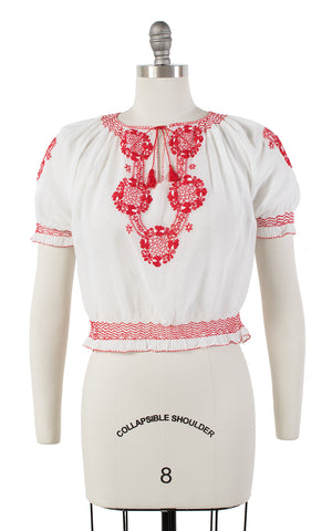 1950s Floral Embroidered Sheer Peasant Top