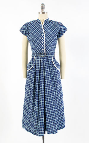 1950s Blue Plaid Cotton Shirtwaist Dress | small