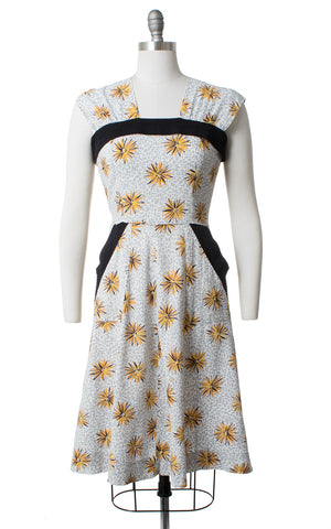 1940s Starburst Printed Cotton Sundress with Pockets