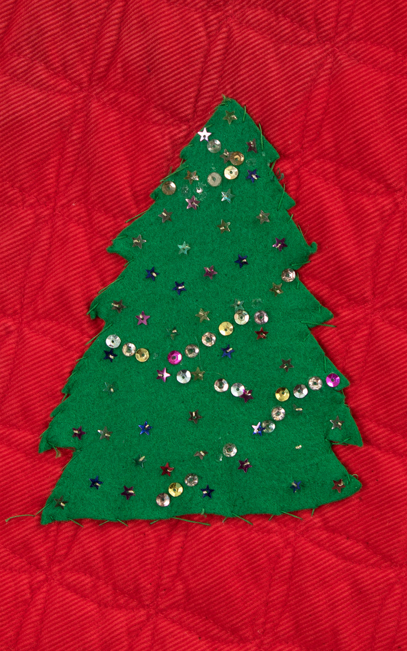1950s Christmas Tree Sequin Quilted Corduroy Circle Skirt