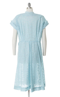 1940s Baby Blue Sheer Filigree Day Dress