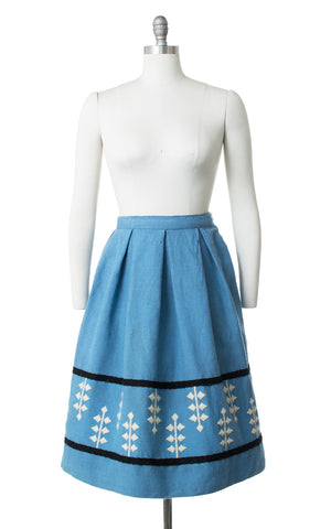 1950s Geometric Embroidered Wool Skirt