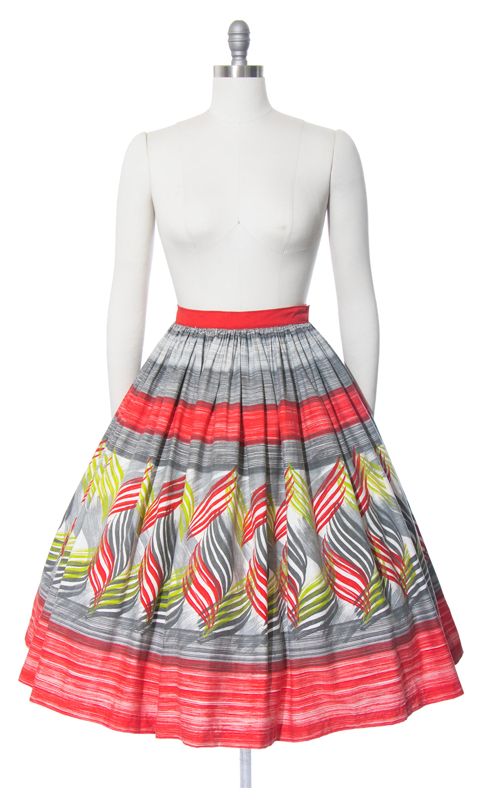 1950s Mexican Border Print Cotton Full Skirt | medium