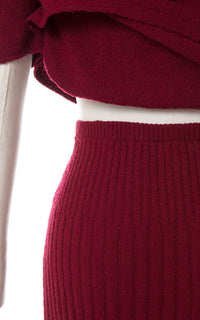 1940s Burgundy Knit Wool Sweater, Skirt & Belt Set