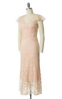 1930s Peach Lace Dress, Bolero and Slip Set