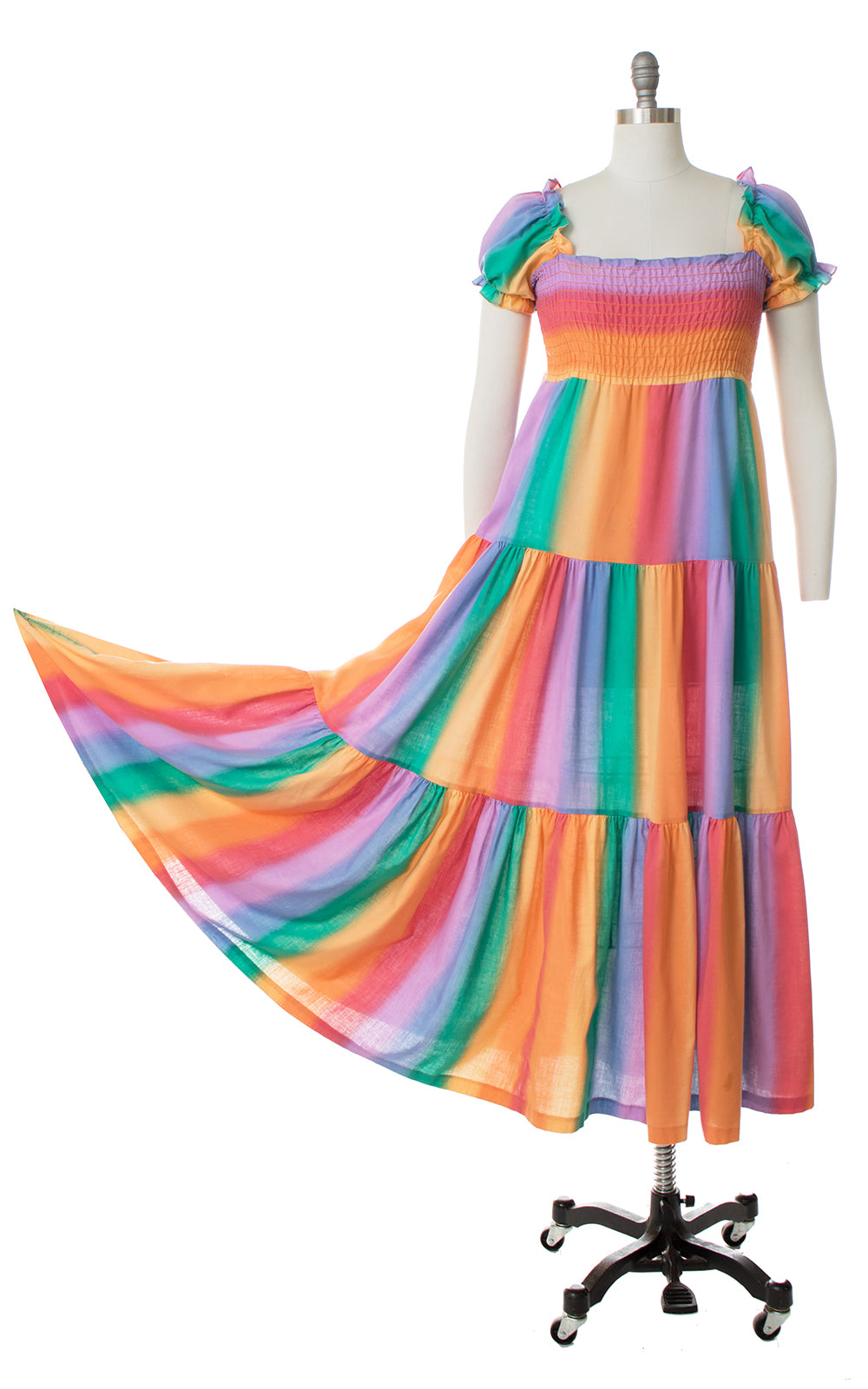 1980s Rainbow Striped Trapeze Maxi Dress
