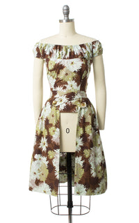 1950s Floral Blouse & Two Skirts Playsuit Set