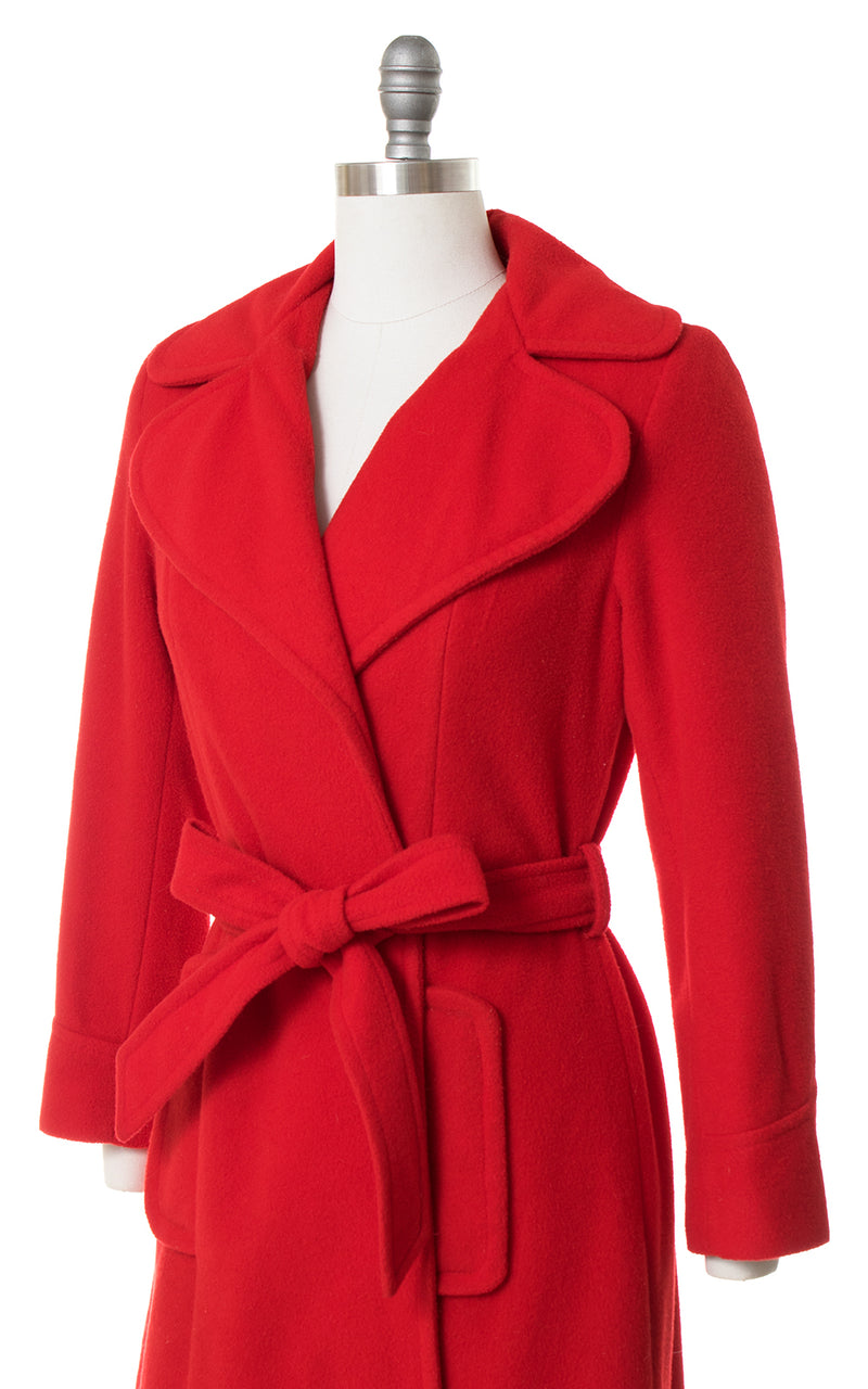 1970s Red Belted Wrap Coat