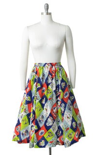 1940s Novelty Print Harlequin Silk Skirt