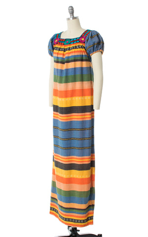 1970s Embroidered Striped Maxi Dress