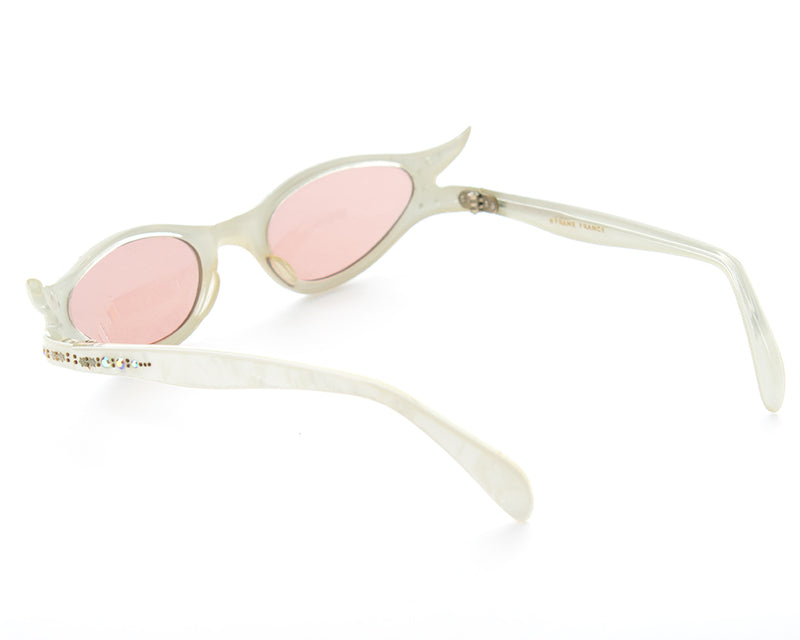 1950s Rhinestone Pearlescent Carved Lucite Cat Eye Sunglasses