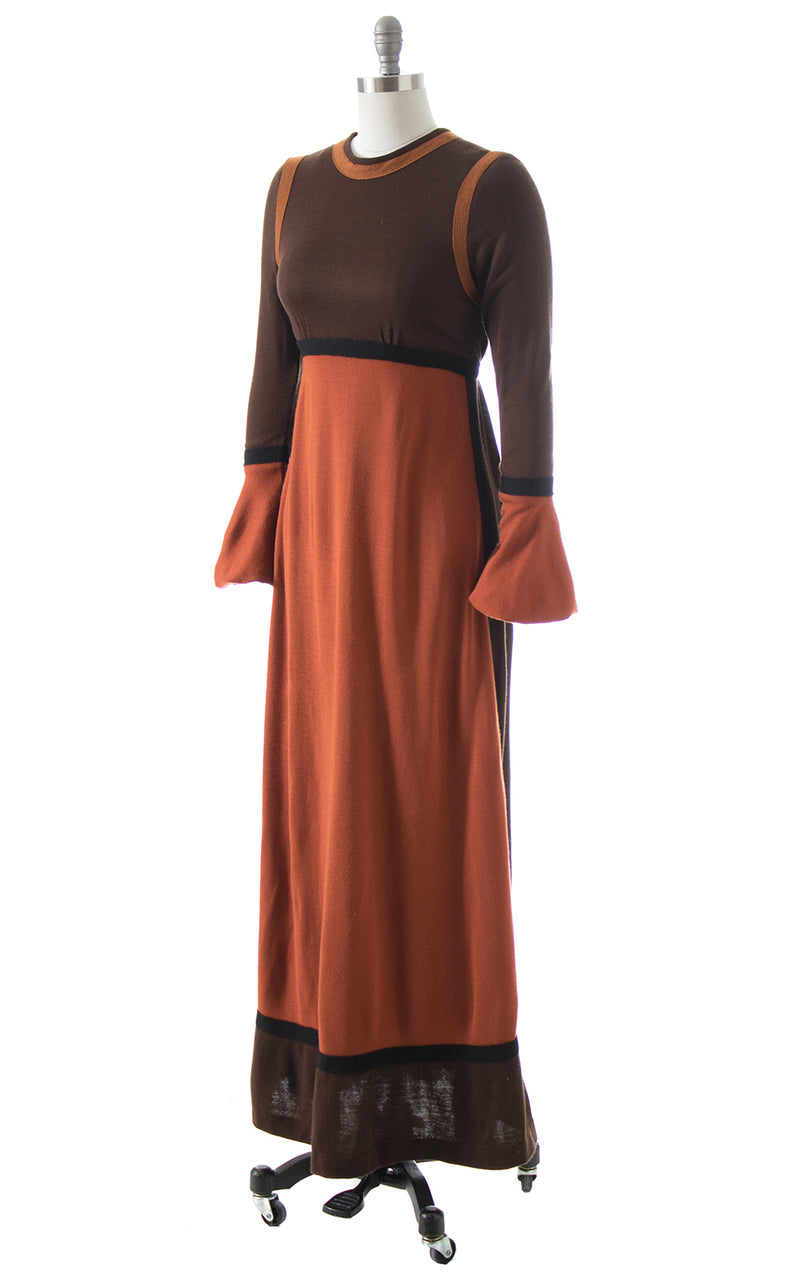1970s Color Block Maxi Dress