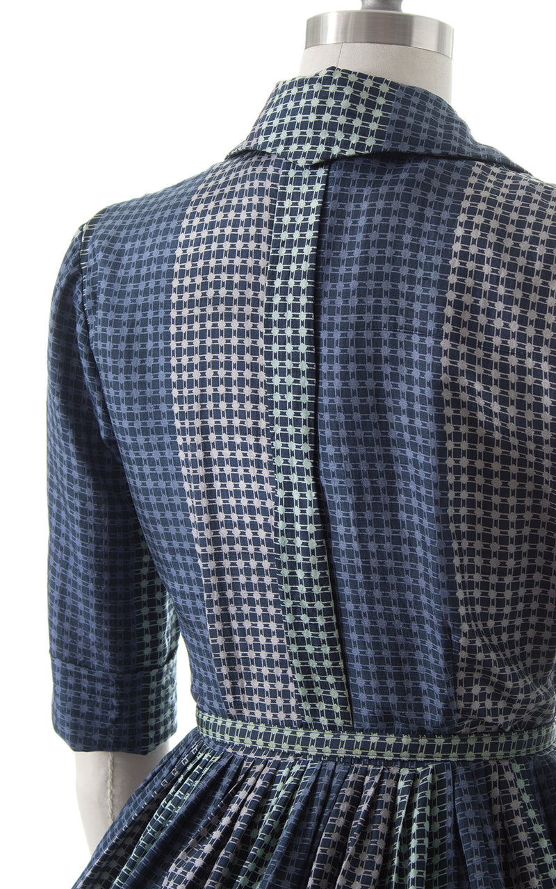 1950s Jonathan Logan Plaid Silk Shirt Dress