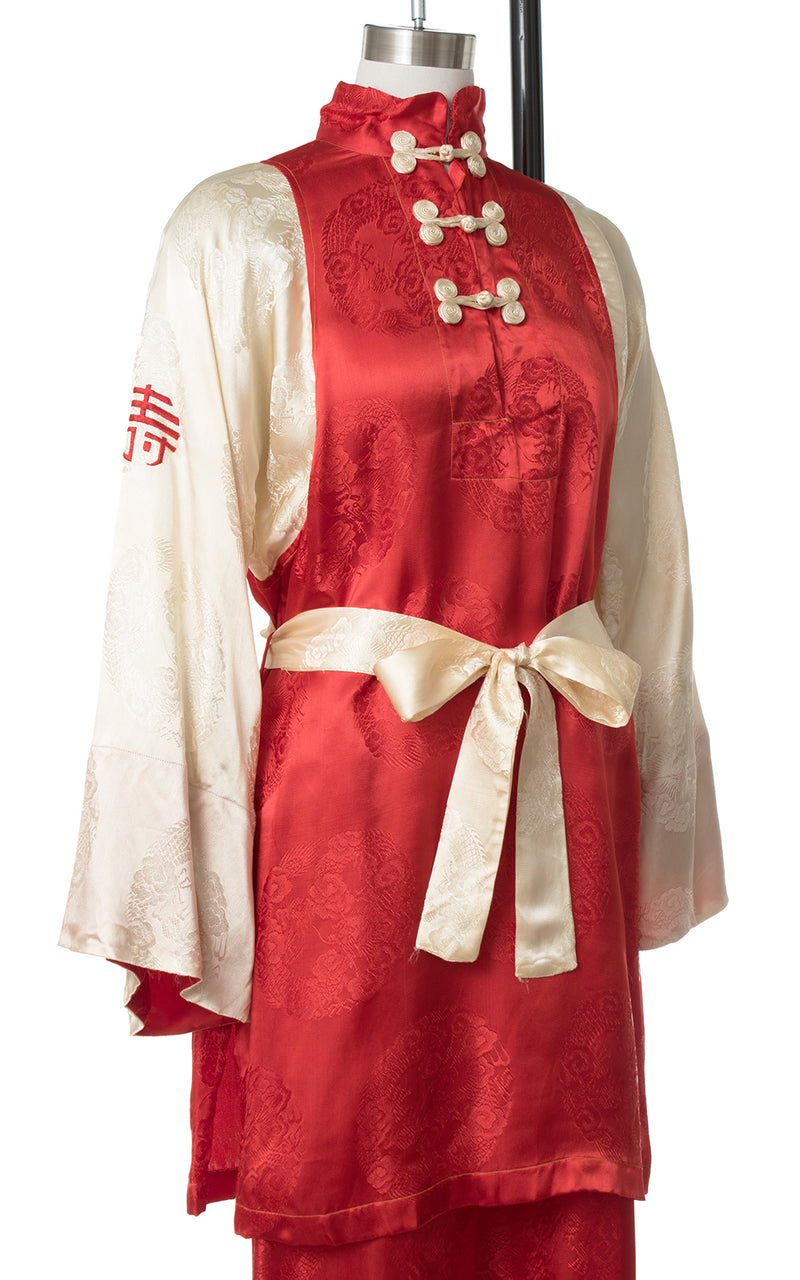 1940s Asian Satin Jacquard Loungewear Set