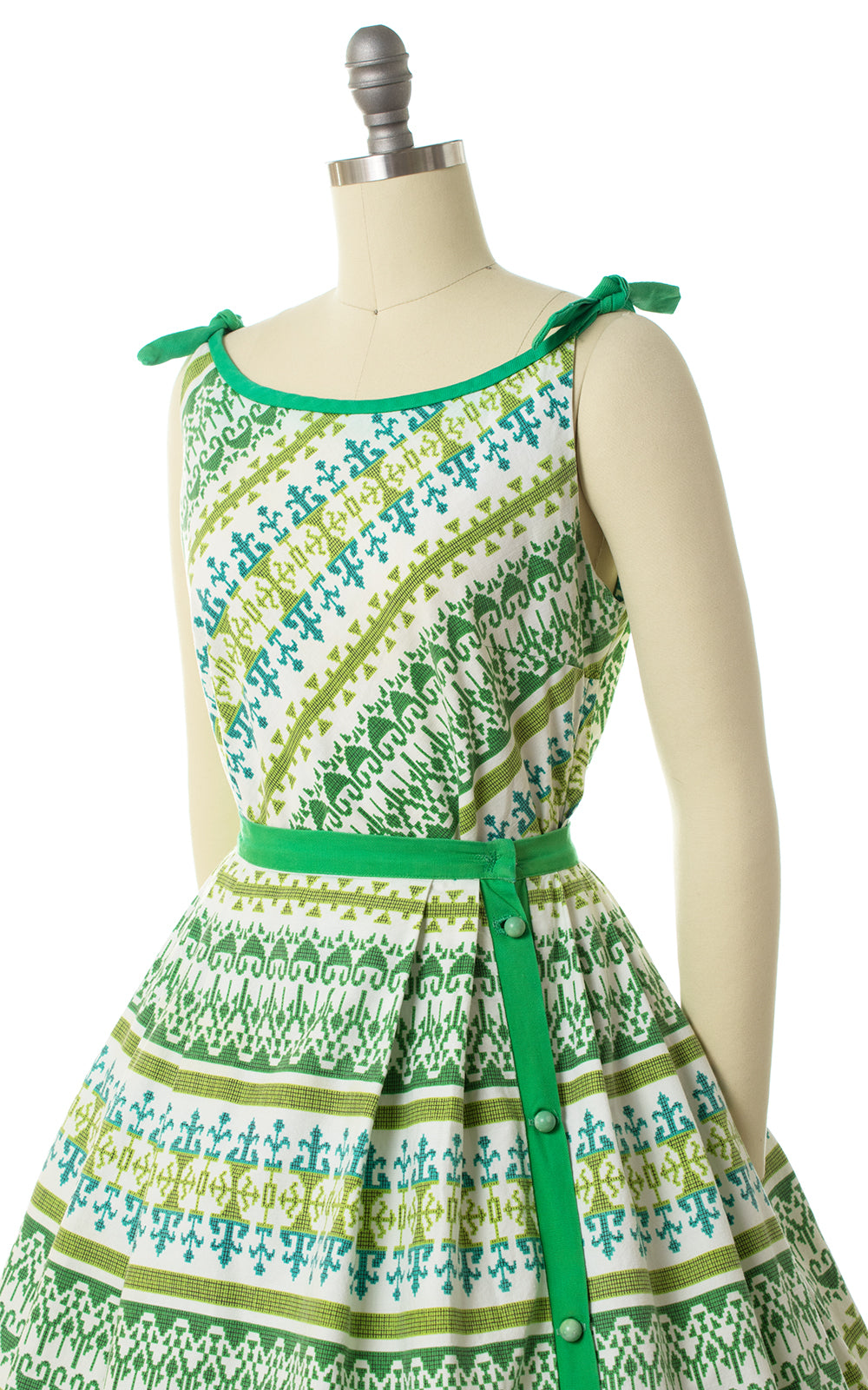 1960s Geometric Striped Side-Button Skirt & Top Set