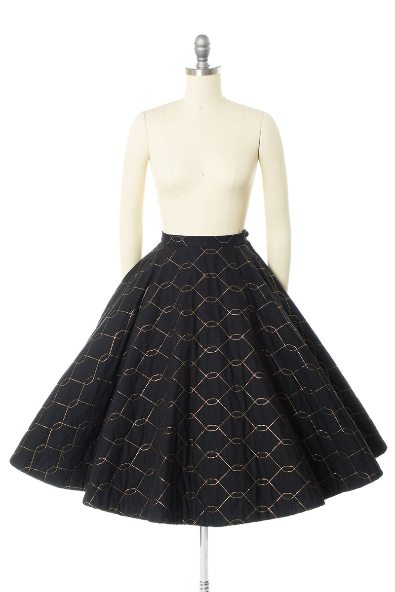 1950s Gold Lurex & Quilted Cotton Circle Skirt