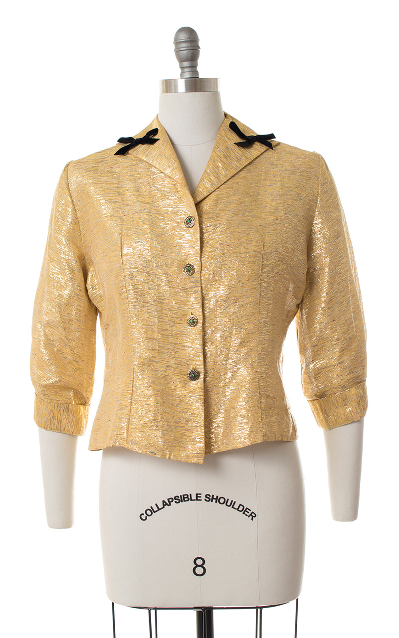 1950s Metallic Gold Lurex Blouse