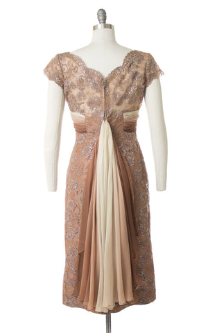 1950s Silk Chiffon Train + Lace Wiggle Dress