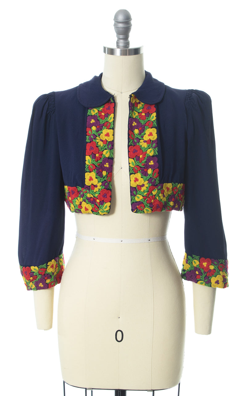 1930s Floral Embroidered Navy Blue Rayon Bolero Jacket