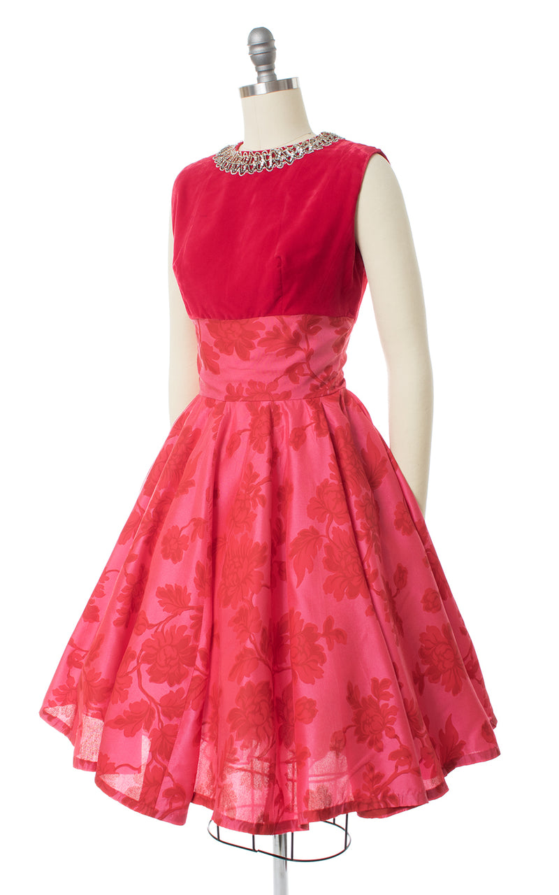 1960s Rose Velvet & Taffeta Circle Skirt Party Dress