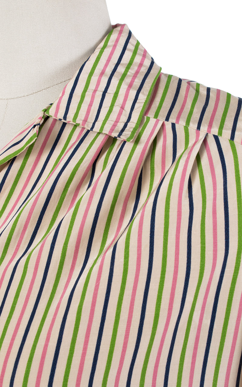1940s Candy Striped Rayon Blouse