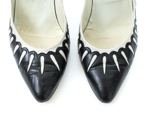 1980s Two-Tone Cutout Leather Heels