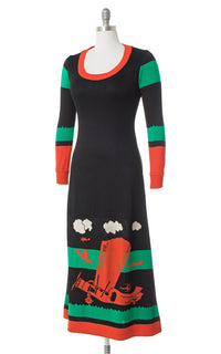 1970s Giorgio di Sant' Angelo Bi-Plane Novelty Knit Sweater Dress