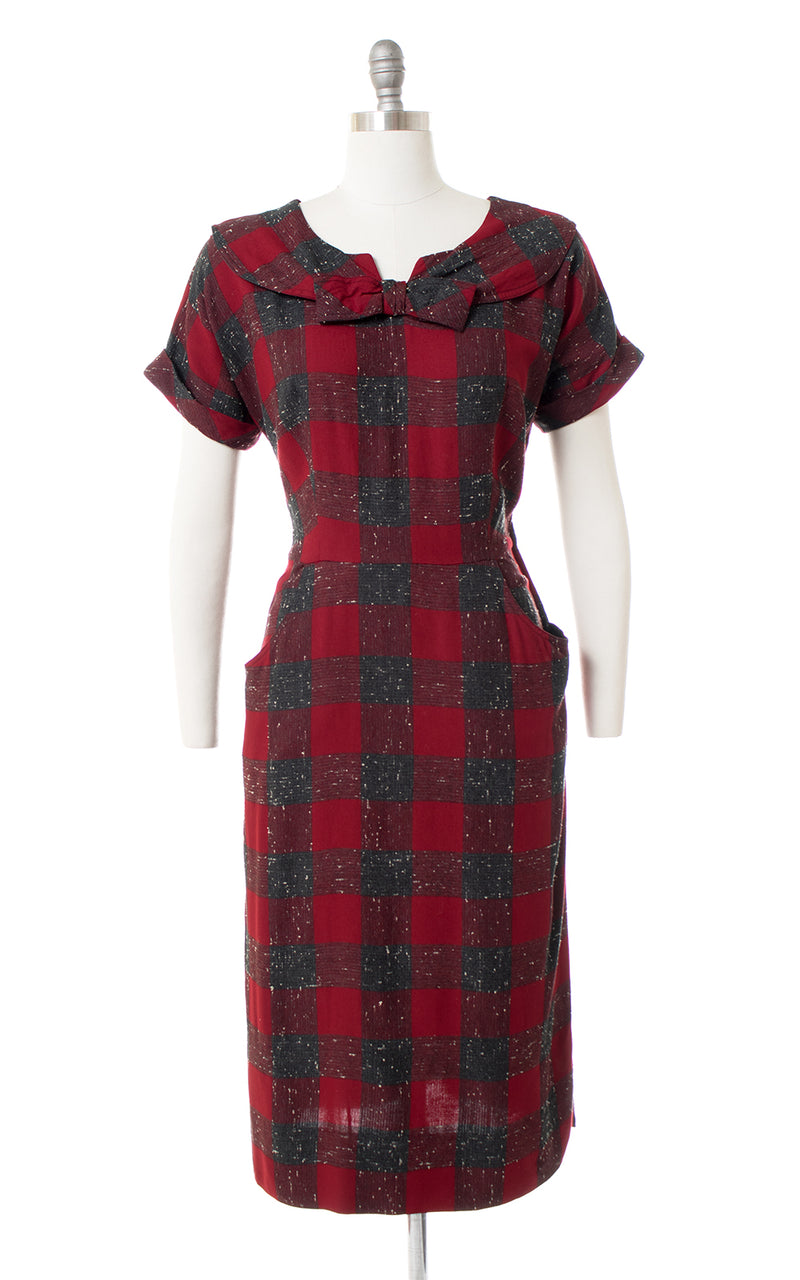 1950s Buffalo Plaid Slubbed Cotton Sheath Dress with Pockets