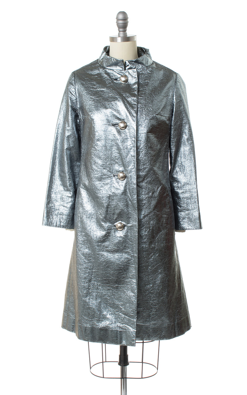 1960s Metallic Silver Tinfoil Raincoat