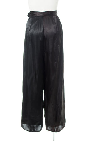 1940s Black Satin Wide Leg Pants