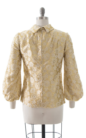 1960s Metallic Floral Brocade Bishop Sleeve Blouse