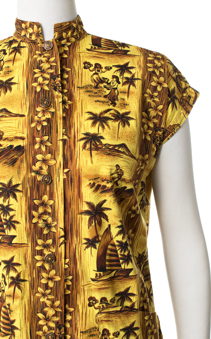 1950s Hawaiian Novelty Print Yellow Cotton Top