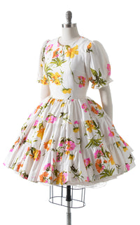 1960s Floral Puff Sleeve Circle Skirt Dress