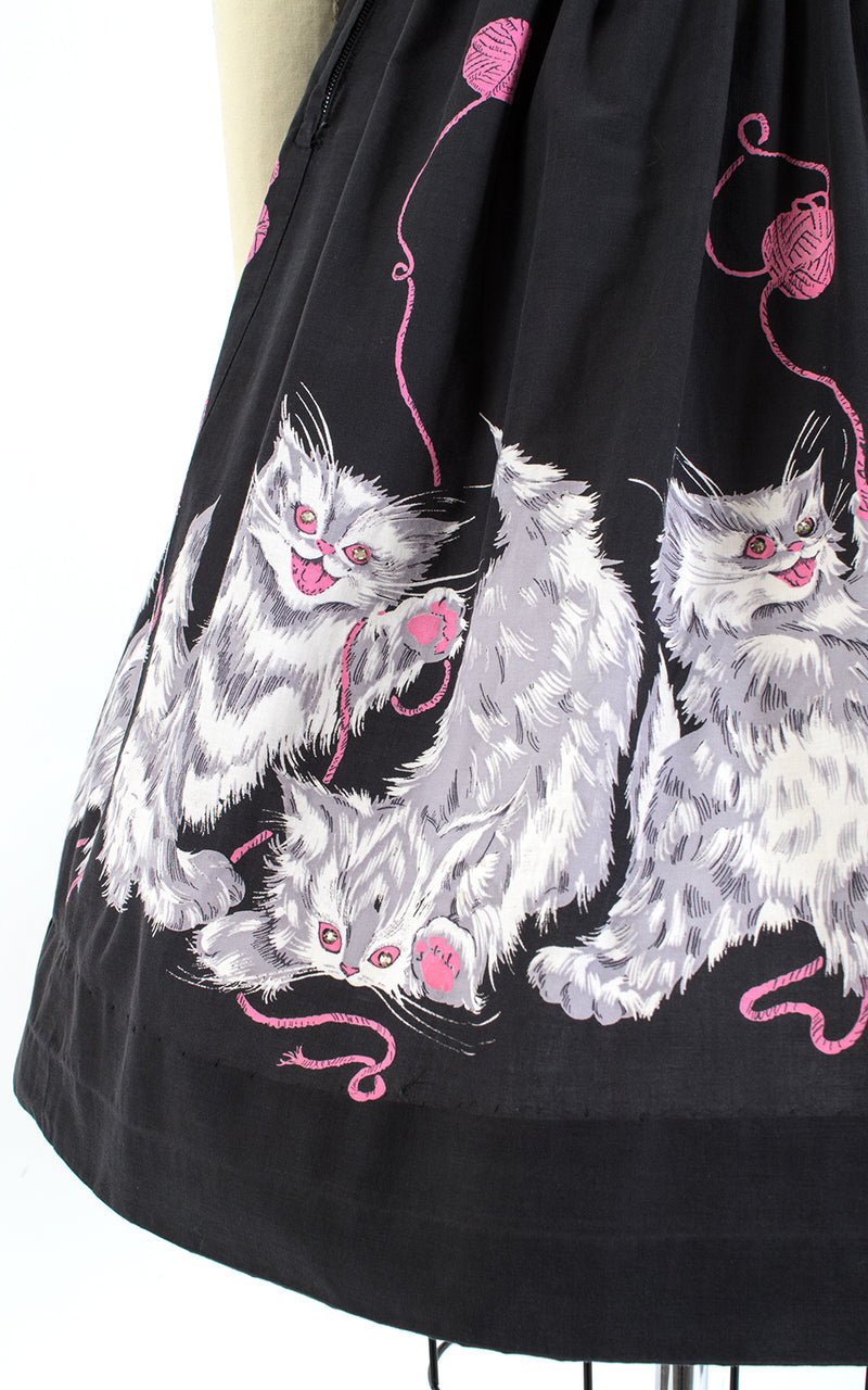 1950s Psycho Kitties Cat Novelty Border Print Skirt | small