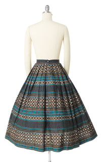 1950s Metallic Gold Striped Geometric Skirt