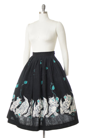 1950s Psycho Kitties Novelty Border Print Skirt