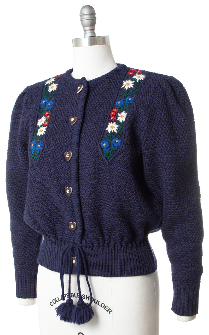 1980s Floral Embroidered Cardigan