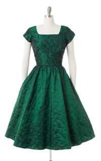 1950s Feather Novelty Satin Green Damask Party Dress
