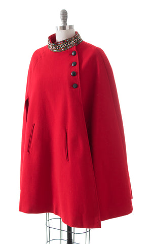 1970s Red Wool Cape