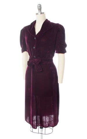 1930s Purple Silk Velvet Dress