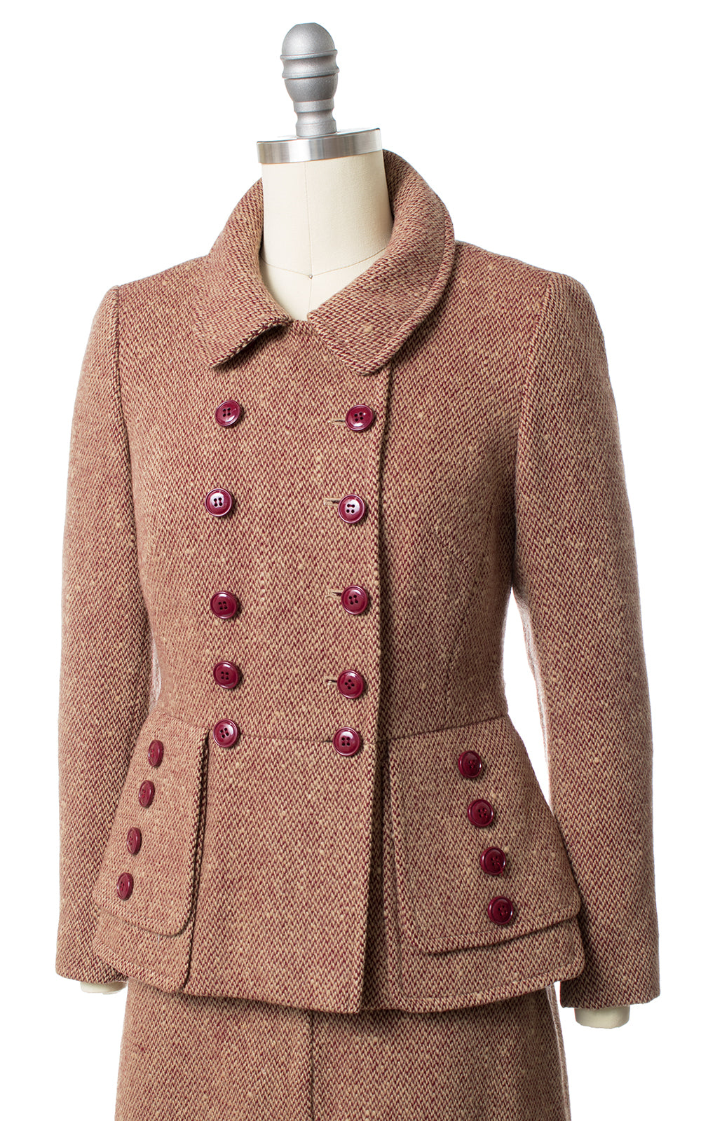 1970s does 1940s Burgundy Wool Blazer and Skirt Suit